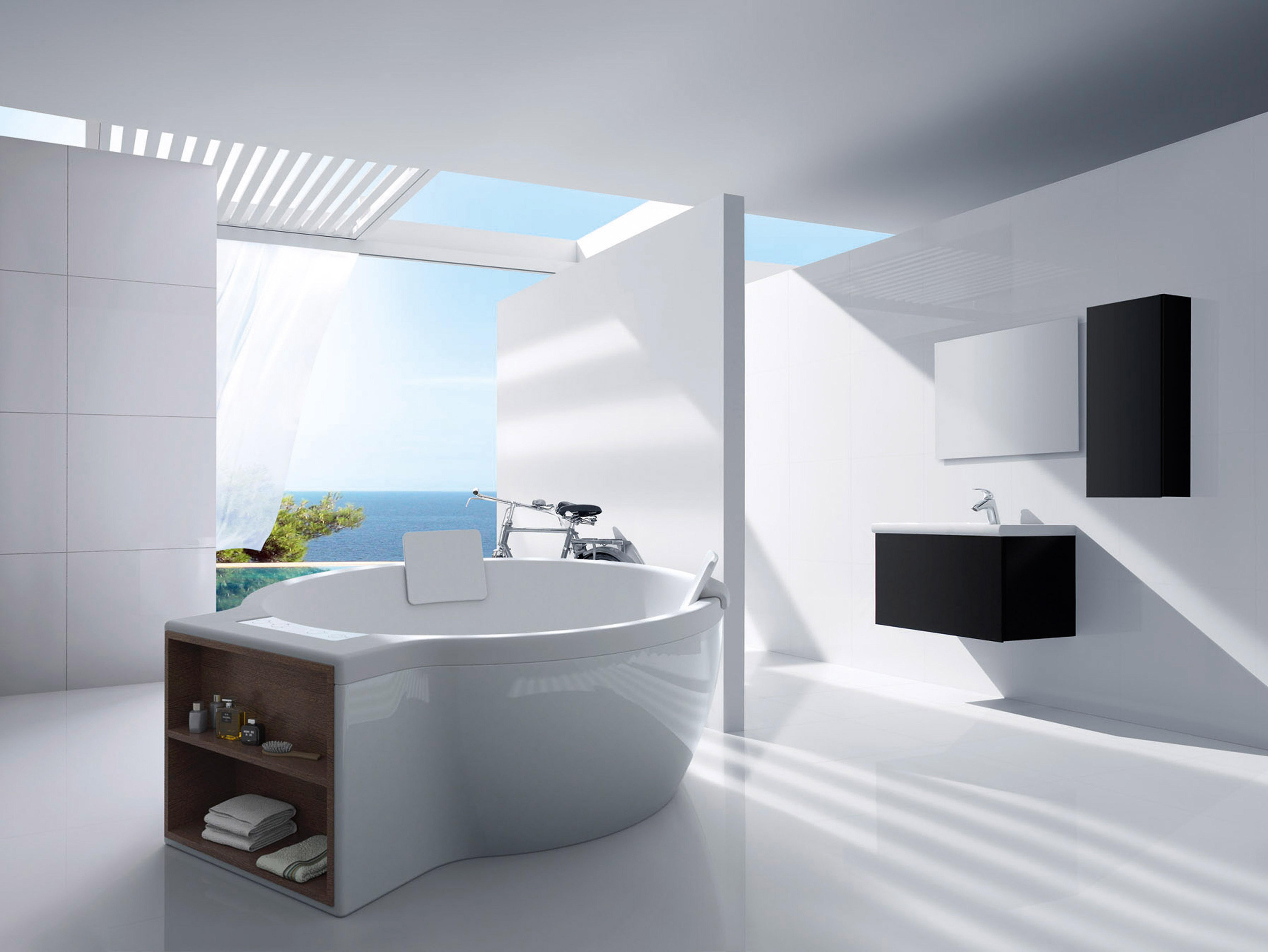 Diferenciais do produto: Pode ser colocada encostada à parede no  #7C7E3F 6689x5022 Banheiro Com Banheira Integrada